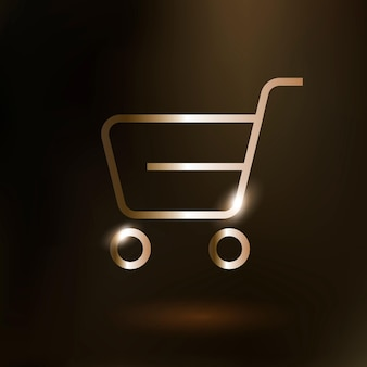 Shopping cart vector technology icon in gold on gradient background