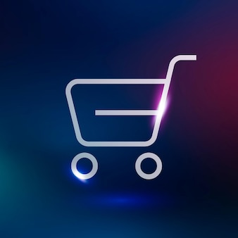 Shopping cart vector technology icon in neon purple on gradient background