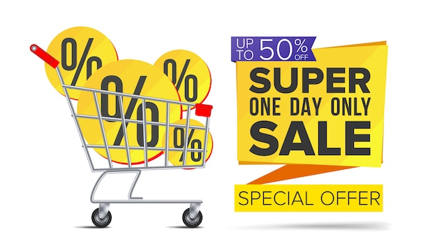 Shopping cart with big sale banner