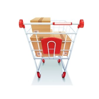 Shopping cart with boxes realistic image