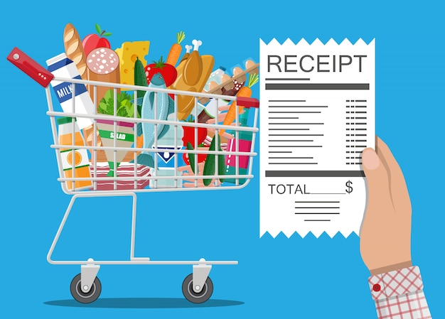 Shopping cart with food and drinks, receipt