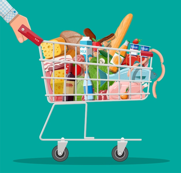 Shopping cart with fresh products. grocery store supermarket. food and drinks. milk, vegetables, meat, chicken cheese, sausages, salad, bread cereal steak egg. vector illustration flat style