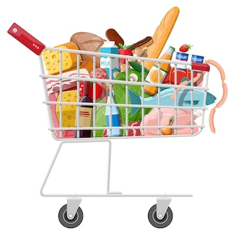 Shopping cart with fresh products. grocery store supermarket. food and drinks. milk, vegetables, meat, chicken cheese, sausages, salad, bread cereal steak egg.