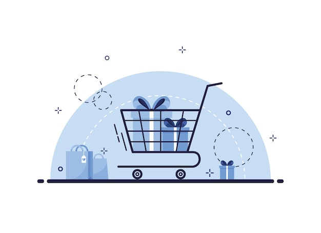 Shopping cart with gift boxes illustration
