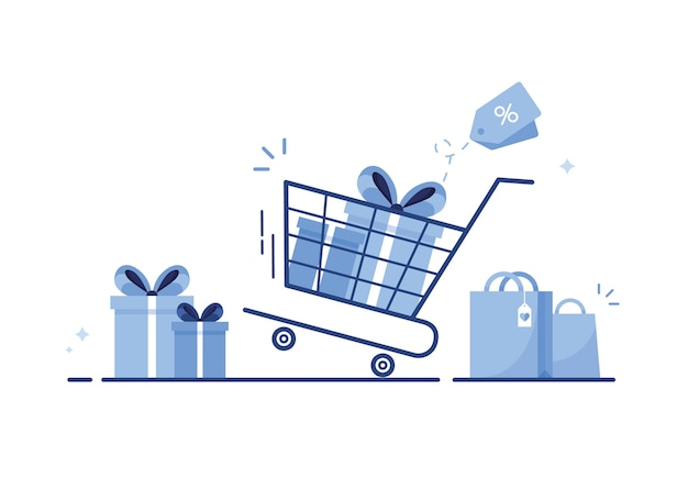 Shopping cart with gift boxes, shopping bags or presents with bow and ribbon for e-shop. blue
