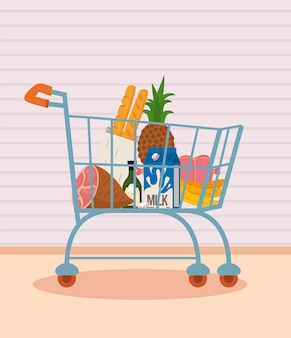 Shopping cart with healthy food