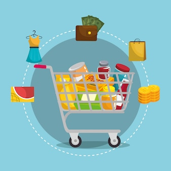 Shopping cart with marketing set