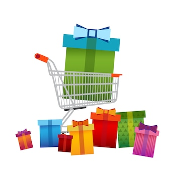 Shopping Cart With Present Box Big Sale Banner