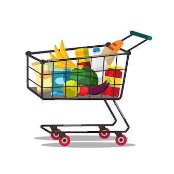 商品イラスト付きショッピングカート。食べ物を買う。スーパーマーケット、食料品店のトロリー。新鮮な果物や野菜を購入します。乳製品、シリアル。健康的な食事、栄養