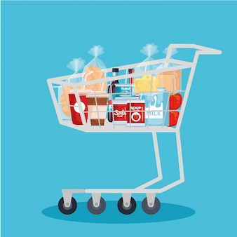 Shopping cart with products
