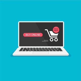 빨간색 버튼이 있는 쇼핑 카트 노트북 화면의 온라인 주문 알림 홈 쇼핑