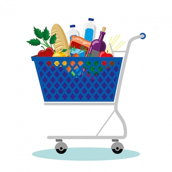 Shopping cart with vegetables and fruits supplies