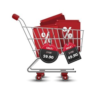 3d 빨간색과 검은 색 종이 가격표 판매와 함께 쇼핑 가방으로 가득 찬 쇼핑 카트