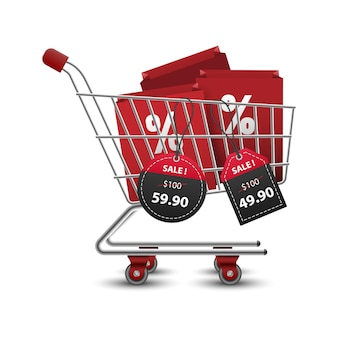 Shopping carts full of shopping bags with 3d red and black paper price tags sale