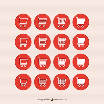 Shopping carts red icons Premium Vector
