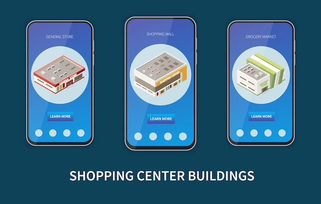 Shopping center buildings on mobile screen set