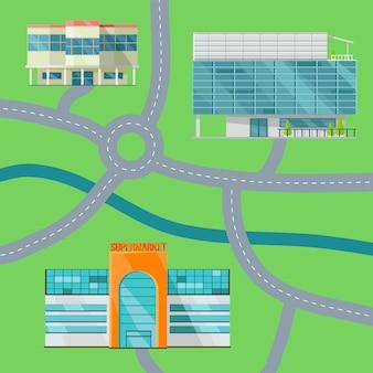 Shopping center concept map vector illustration.