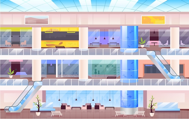 쇼핑 센터 평면 컬러 일러스트입니다. 배경에 여러 층이있는 큰 도시 쇼핑몰 2d 만화 인테리어. 점포, 오픈 스페이스 카페, 라운지 존이있는 다층 홀
