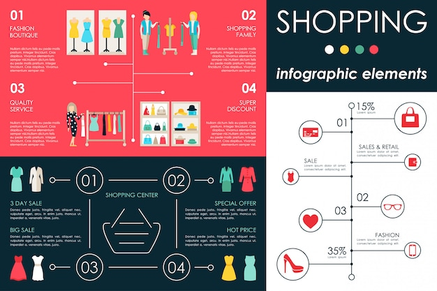 Shopping center infographic flat web vector illustration