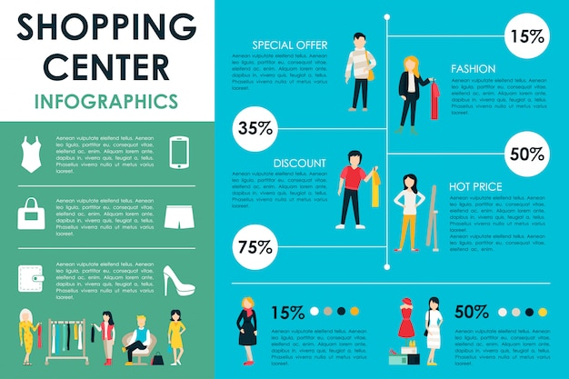 Shopping center infographic web vector illustration