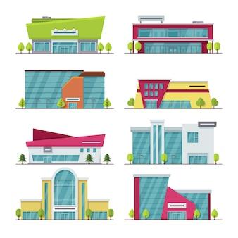 Торговый центр, торговый центр и супермаркет современных плоских векторных зданий. супермаркет города и архитектуры здание торгового центра иллюстрации