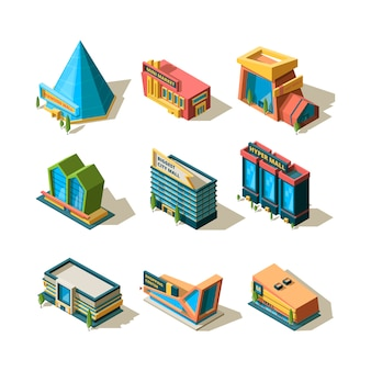 Shopping center. mall retail commercial complexes architectural modern building store isometric