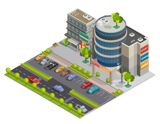Shopping center street view isometric composition