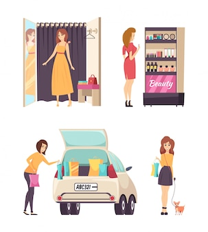 Shopping choosing dress and cosmetics set vector