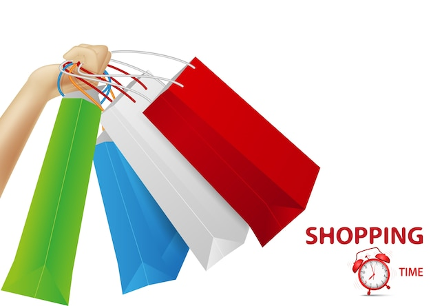 Shopping concept background, hand holding bags