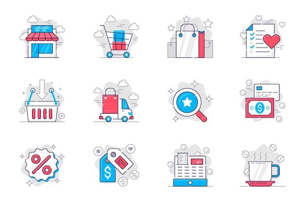 ショッピングコンセプトフラットラインアイコンセットモバイルアプリの販売で購入の作成と支払い