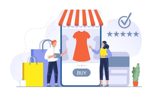 Люди иллюстрации концепции покупок покупают в приложении магазина. мужчина и женщина выбирают платье в интернет-магазине