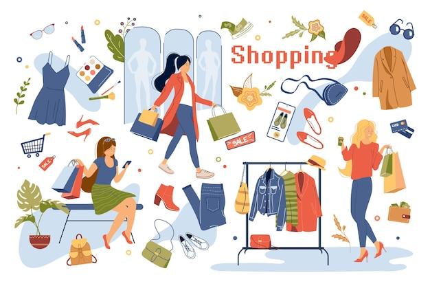 쇼핑 개념 고립 된 요소 집합