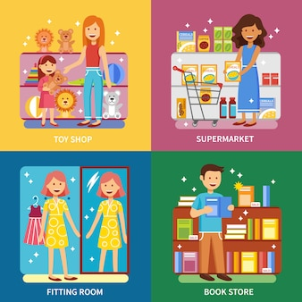 Shopping concept vector images square