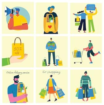 Концепция покупок с разными людьми в плоском дизайне