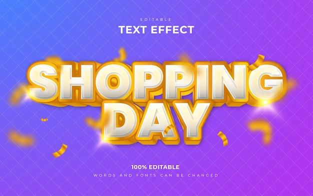 落下するリボンで買い物の日の編集可能なテキスト効果