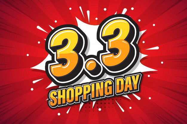 Shopping day font expression pop art comic speech bubble  illustration