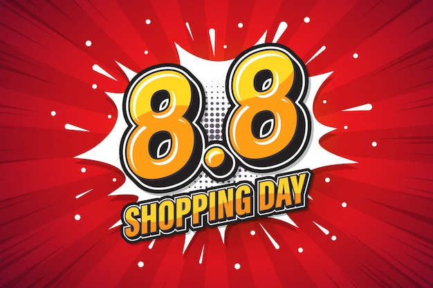 Shopping day. font expression pop art. marketing banner