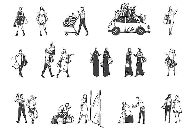 쇼핑 일, 구매 개념 스케치를 만드는 사람들. 총 판매, 할인, 쇼핑 가방을 들고 아랍 여성, 커플 및 친구가 함께 구매합니다. 손으로 그린 된 고립 된 벡터