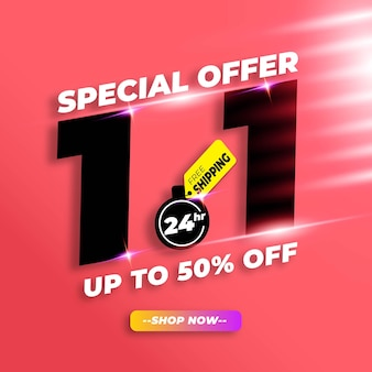 Shopping day sale banner  with 50% discount and free shipping