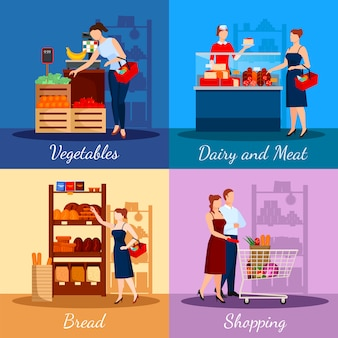 Shopping departments in supermarket
