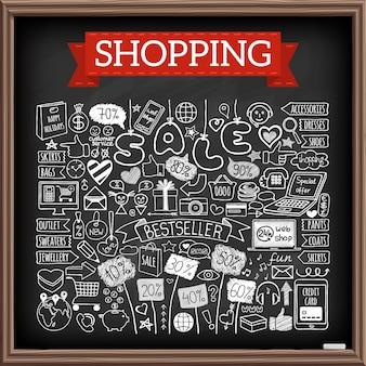 Набор покупок каракули. эффект меловой доски. коллекция рисованной иконок со скидочными тегами, компьютером, смартфоном, подарочной коробкой, сердечками, звездами и баннерами. интернет-магазины, праздничные и сезонные продажи концепции.
