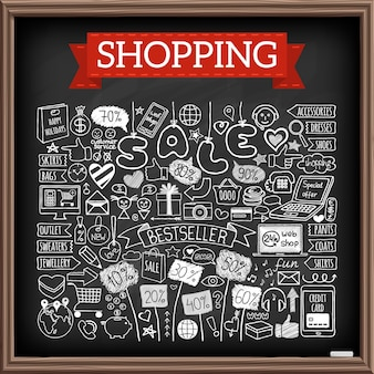 Shopping doodle set. chalk board effect. hand drawn icons collection with discount tags, computer, smartphone, gift box, hearts, stars and banners. online shopping, holiday and season sale concept.