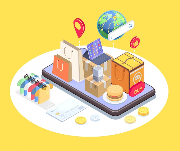 Shopping e-commerce isometric composition with conceptual image of phone and items on top of touchscreen vector illustration