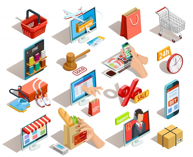 Shopping e-commerce isometric icons set