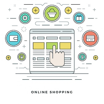 Shopping and e-commerce and line style icons design.