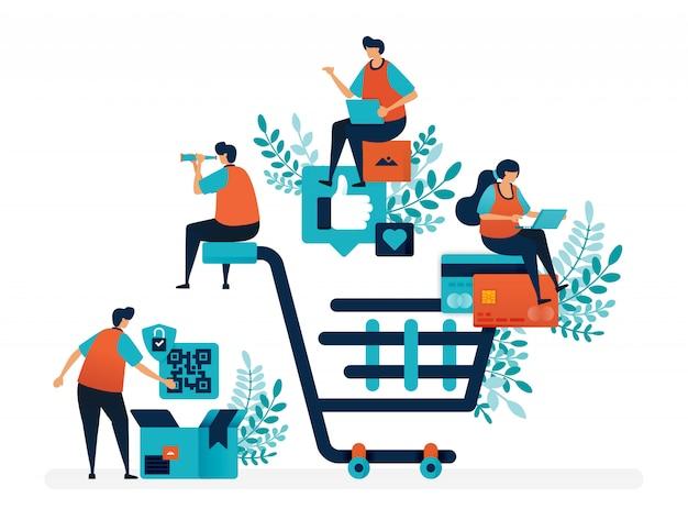제품 찾기, 결제 및 배달 서비스 쇼핑 경험. 큰 쇼핑 카트. 프리미엄 벡터