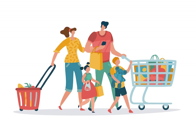 Shopping family. mom dad kids shop basket cart consume retail purchase store grocery mall supermarket cartoon shoppers