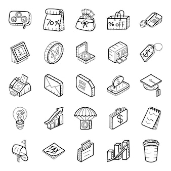Shopping and finance hand drawn icons pack