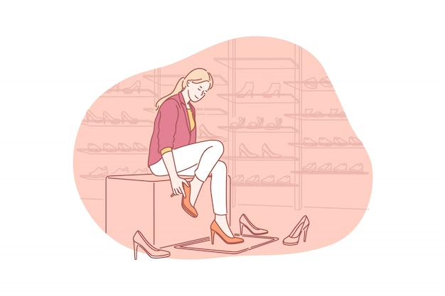 Shopping, fitting, footwear concept