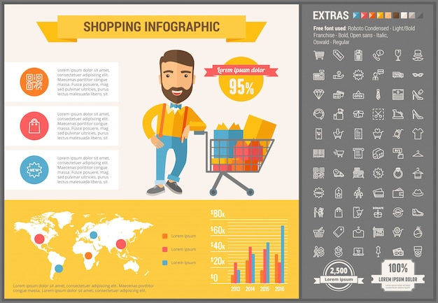 Shopping flat design infographic template and icons set